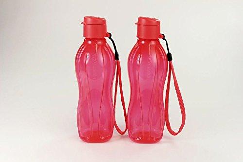 TUPPERWARE To Go Eco 500 ml (2) mit Band erdbeerrot Trinkflasche Ecoflasche 21202