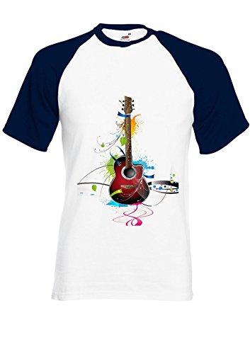 Colourful Guitar Cool Music Navy/White Men Women Unisex Shirt Sleeve Baseball T Shirt-XL par  NisabellaLTD