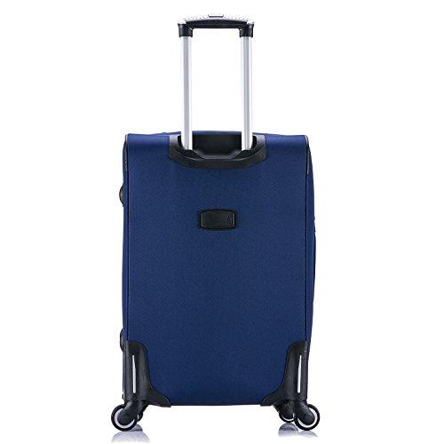 WOLTU RK4214gr-M-a Reise Koffer Trolley mit 4 Rollen , Weichgepäck Reisegepäck , Reisekoffer Stoff 1200D Oxford Weichschale , Handgepäck leicht & günstig , Grau (M, 56 cm & 42 Liter) Blau