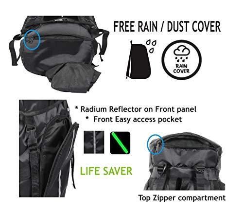 POLESTAR Hike Grey Rucksack with RAIN Cover/Trekking/Hiking BAGPACK/Backpack Bag Image 5