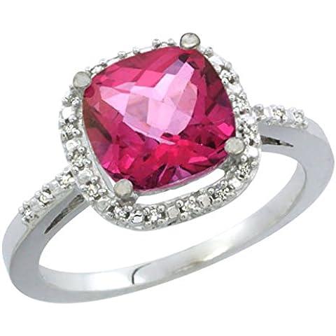Revoni 14ct de oro blanco Natural de rosa anillo de topacio 8 x 8 mm cushion-Cut Diamond Accent