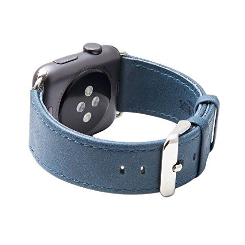 Cinturino per Apple Watch Serie 1 & 2, Ricambio del Cinturino in Vera Pelle Retro con Fibbia in Metallo della SVAEX, in 38 mm - Adattatori inclusi - Marine Blu