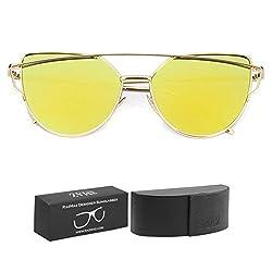 RAZMAZ Cat Eye Mirrored Vintage Fashion Stylish Women Yellow Gold Sunglasses - RZ2102