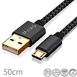 50cm Nylon Micro USB Kabel schwarz, USB auf Mikro USB Ladekabel, Goldstecker und geflochtenes Kabel (Braided), 0,5m