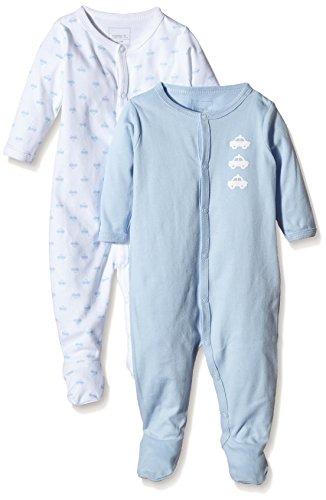 NAME IT Baby-Jungen Schlafstrampler NITNIGHTSUIT W/F NB B NOOS, 2er Pack, Gr. 68, Mehrfarbig (Cashmere Blue)