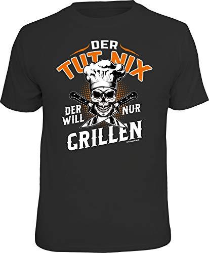 Männer Geschenk Grill BBQ T-Shirt: Der TUT nix - Der Will nur Grillen!, Schwarz, L -