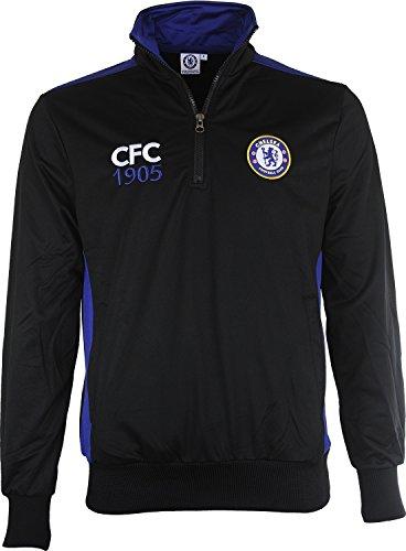 Chelsea FC 1341500L Sweatshirt Erwachsene Fußball, Schwarz/Royal, fr: L (Größe Hersteller: L) (Pullover Chelsea)