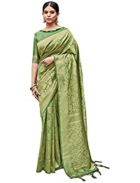 Anni Designer Women's Olive Green Color Banarasi Art Silk Saree With Blouse Piece (Kumkum_2106_Free Size)