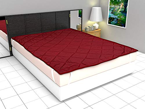Ronak Sales Polyester Waterproof Double Size Mattress Protector Bed Cover- 182x198 cm, Maroon