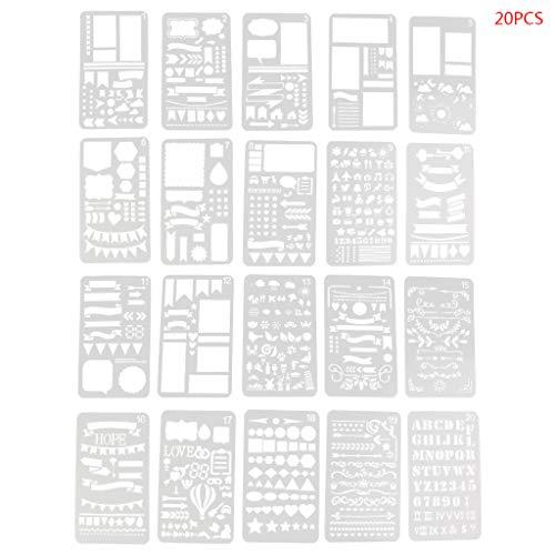 Valcano 20 Stücke Bullet Journal Schablone Set Kunststoff Planer DIY Zeichnungsvorlage Tagebuch Decor Craft (Jugendstil-planer)