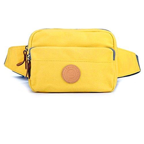 Eshow Bolso de Cintura de Tela de Lona para Mujer Bolso de Ocio de Compra Color Amarillo