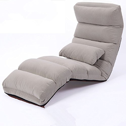 Bestwind sedie a sdraio | chaise longue da pavimento colore grigio sedia da soggiorno moderna moda divano letto a sdraio imbottito pigro reclinabile, 178 cm, 1 confezione