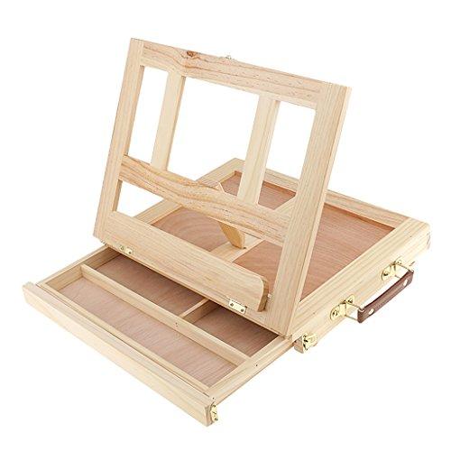 MagiDeal Einstellbarer Faltbaren Holz Tischstaffelei Kofferstaffelei Sitzstaffelei mit Tragegriff
