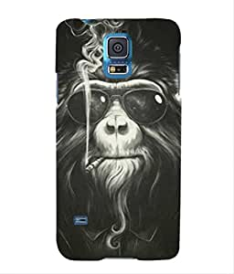 For Samsung Galaxy S5 -Livingfill- Monkey Smoke with cool sunglasses Printed Designer Slim Light Weight Cover Case For Samsung Galaxy S5 (A Beautiful One of the Best Design with a Classic Theme & A Stylish, Trendy and Premium Appeal/Quality) (Red & Green & Black & Yellow & Other)
