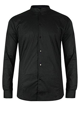 Trueprodigy casuale uomo camicia uni stretch, abbigliamento urban moda collo coreana (manica lunga & slim fit classic), shirt moda vestiti colore: nero 2073101-2999-m