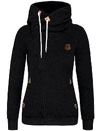 FANTIGO Mode Femmes Automne Hiver Sweats à Capuche Casual Hoodies Pullover Manches Longues Vestes Oblique Zippé Sweat-Shirt