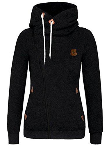 Fantigo donne felpa con cappuccio collo halter maglie maniche lunghe top camicette camicie(nero,xxl)