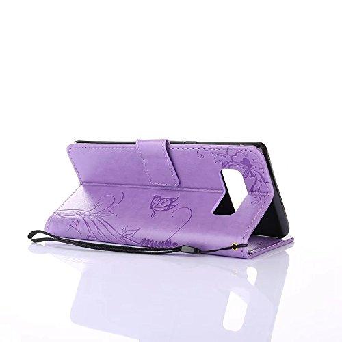 EKINHUI Case Cover Embossing Blumen Horizontale Flip Stand Case Geldbörse Geldbörse mit Lanyard & Soft TPU Cover & Card Slots für Samsung Galaxy Note 8 ( Color : Black ) Purple