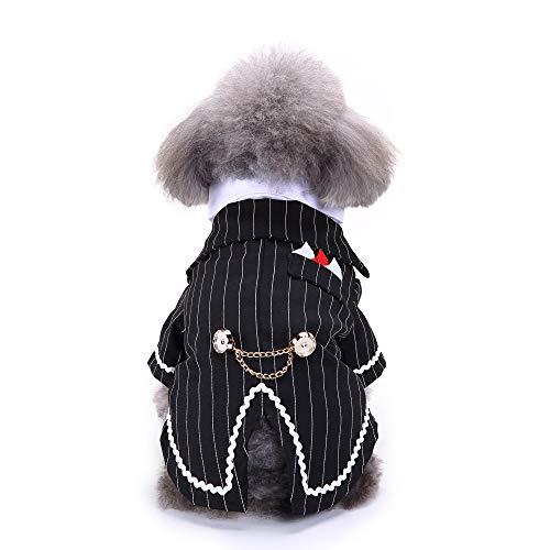 NashaFeiLi Haustier Kleidung Hund formelle Smoking Kostüm Gestreift Krawatte Hochzeit Party Kleidung für Welpen kleine - Welpen Bauch Baby Kostüm