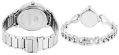 Adamo Analogue Silver, White Dial Men's & Women's Couple Watch (109-327Sm01)