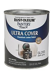 Rust-Oleum 1986502 Painters Touch Latex, 1-Quart, Dark Gray - 2 Pack