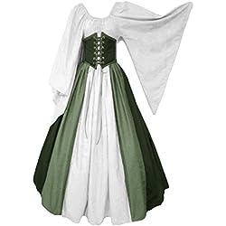 lancoszp Vestido sin Hombros Medieval Renacentista de Mujer Cintura con Cordon Cintura Alta Verde, XXL