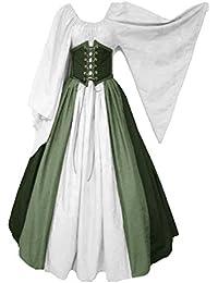 Joyplay Damen Retro Kleid Mittelalter Gothic Langarm Maxi Kleider