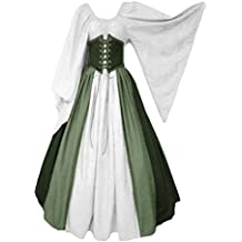 997b8a341 lancoszp Vestido sin Hombros Medieval Renacentista de Mujer Cintura con  Cordon Cintura Alta Verde