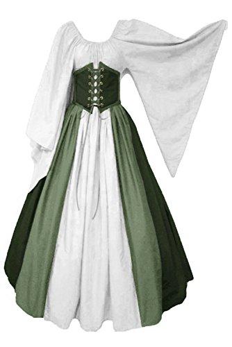 lancoszp Vestido sin Hombros Medieval Renacentista de Mujer Cintura con Cordon Cintura Alta Verde, XL