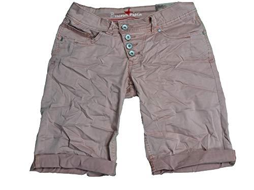 Buena Vista Damen Stretch Jeans Shorts Bermuda Krempelhose Malibu (XS, Rose)