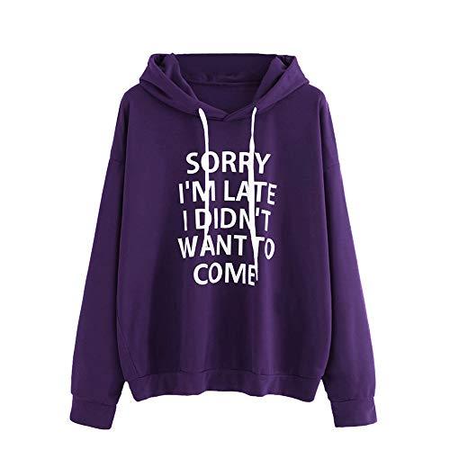 SANFASHION Kapuzenpullover für Damen, Frauen Oansatz Hoodies Pullover Jumper Langarm Brief Print Streetwear