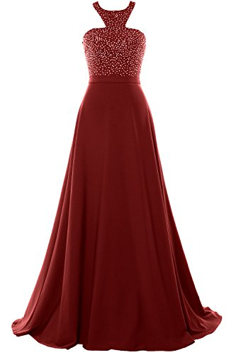 MACloth Halter Beading Chiffon Long Prom Party Dress 2018 Formal Evening Gown Burgundy