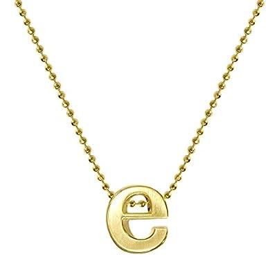 """Alex Woo Women's """"Little Letter"""" 14ct Yellow Gold E Pendant Necklace of 40cm"""