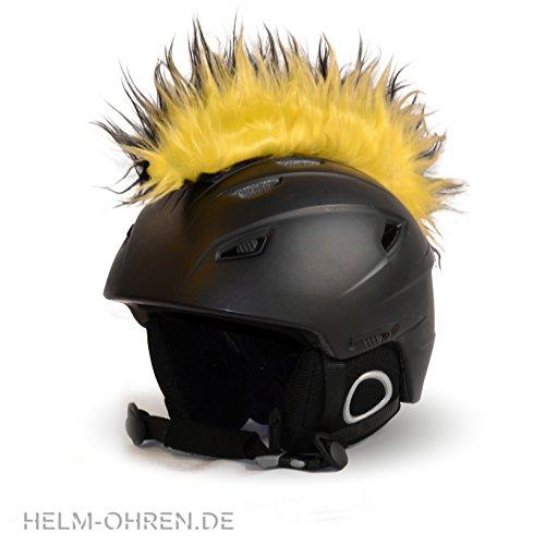 Helm-Irokese für den Skihelm, Snowboardhelm, Kinderskihelm, Kinderhelm, Motorradhelm oder Fahrradhelm - Der HINGUCKER - Der etwas auffälligere Helm-Aufkleber - für Kinder und Erwachsene HELMDEKO (Schwarz-Gelb)