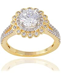 Devanjali Stylish Fancy Partywear Designer Two Tone Gold Plated Solitaire Ring For Women Girls (IR-0105)