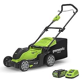 Greenworks Tondeuse à gazon sans fil sur batterie 41cm 40V Lithium-ion avec batterie 2Ah et chargeur – 2504707UA