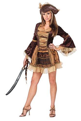 Sassy viktorianische Gold geschnittenen Piraten Damen Kostüm, Braun (Pirat Lady Adult Womens Kostüm)