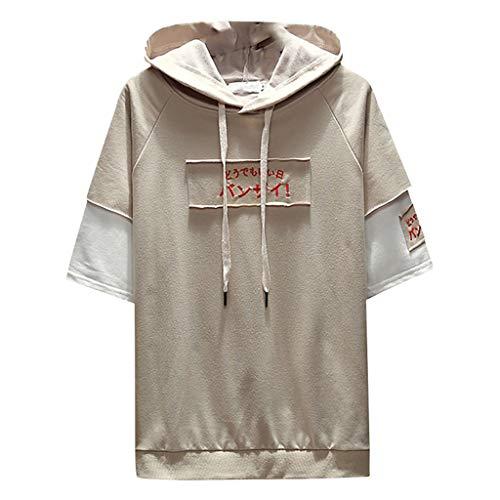 Xmiral T-Shirt Herren Hoodie Halber Ärmel Gedruckte Patchwork Gefälschter Zweiteiliger Tops Mit Kapuze Slim Fit Poloshirt Hemde Lose Bluse Polohemd(b Khaki,4XL)