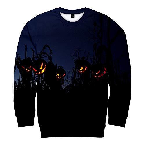 Vectry Damen Pullover Halloween Horror Muster Tops Fashion Party Bluse Langarm Shirt Locker Rundhals Beiläufige Sweatshirt Strickjacke Karneval Festival Winter Pullover Blau 4XL