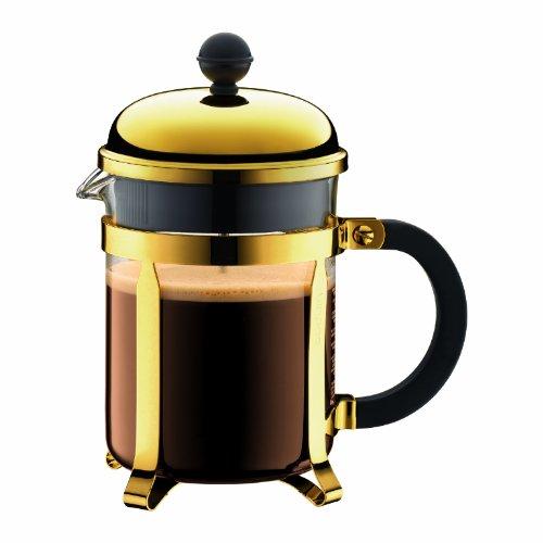 Bodum Chambord Kaffeebereiter 4 Tassen mit Metallrahmen, Chrom, Gold, 10.5 x 16.6 x 19 cm
