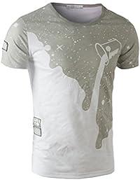 SODIAL(R) New Mens Summer Tops Tees Short Sleeve T Shirt Man Printed Cotton t-shirt Men 3D Men tshirt Clothing Gray White XXL