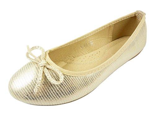 Ballerines en toile façon reptile à noeud chaussure femme, bout rond Doré