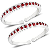 MJ 925 Alluring Red CZ Toe Rings (Leg Finger Rings) in 92.5 Sterling Silver for Women