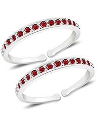 MJ 925 Alluring Red CZ Toe Rings (Leg Finger Rings) in 92.5 Sterling Silver for Women
