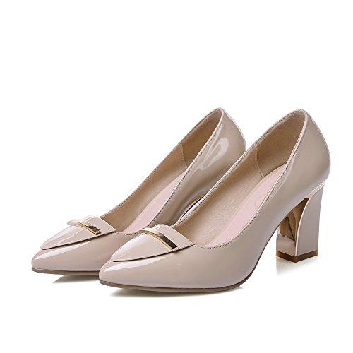 AllhqFashion Femme Pointu à Talon Haut Verni Mosaïque Tire Chaussures Légeres Abricot