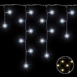 144er led lichterkette eisregen eiszapfen kalt wei au en weihnachtsbeleuchtung. Black Bedroom Furniture Sets. Home Design Ideas