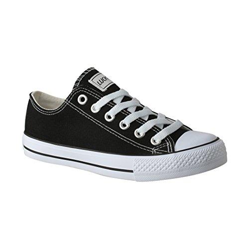 Elara Lucky-Z Unisex Sneaker | Bequeme Sportschuhe für Herren und Damen | Low top Turnschuh Textil Chunkyrayan 089-A-Sch-46 Herren Low-top Sneaker