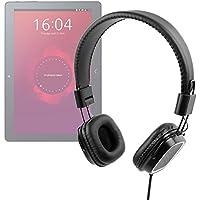 DURAGADGET Auriculares de Diadema Negros con Mando de Volumen y Plegables, para Tablet BQ Aquaris