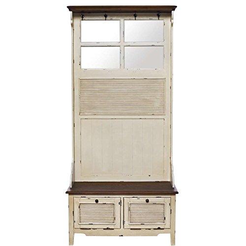 Butlers CABOTT COVE Garderobe mit Spiegel und Sitzbank - Garderobenschrank mit 4 Haken -...
