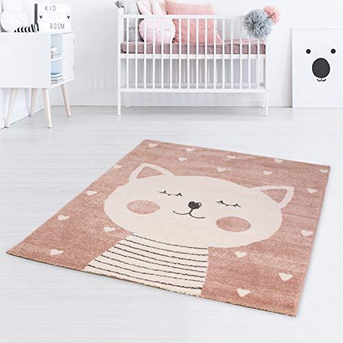 Taracarpet Kinderteppich Spielteppich für Kinderzimmmer und Jugendzimmer Kids Wonderland Verträumte Katze rosa 140x200 cm